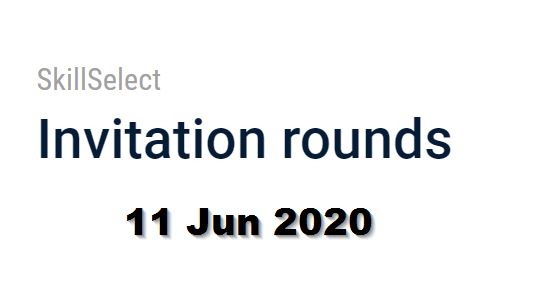 skillselect invitation round 11 june 2020