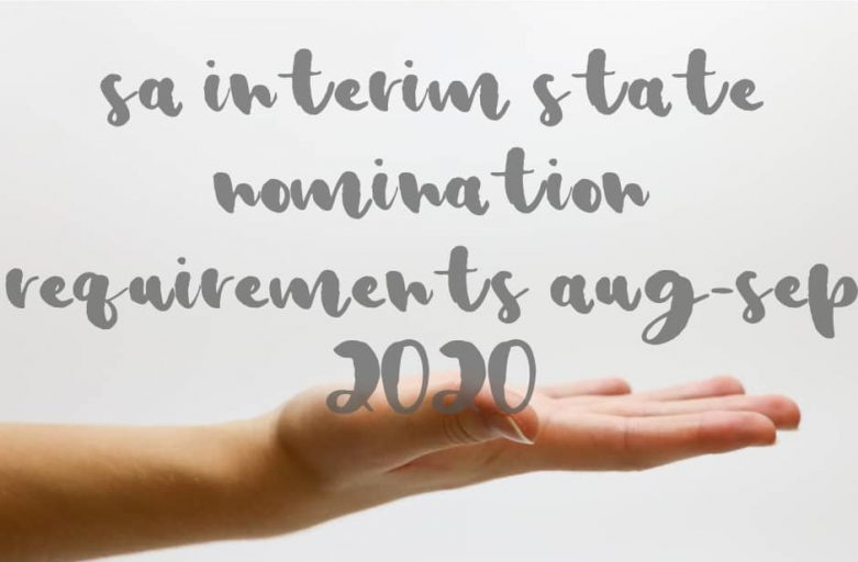 SA Interim State Nomination Requirements Aug Sep 2020 hand palm up